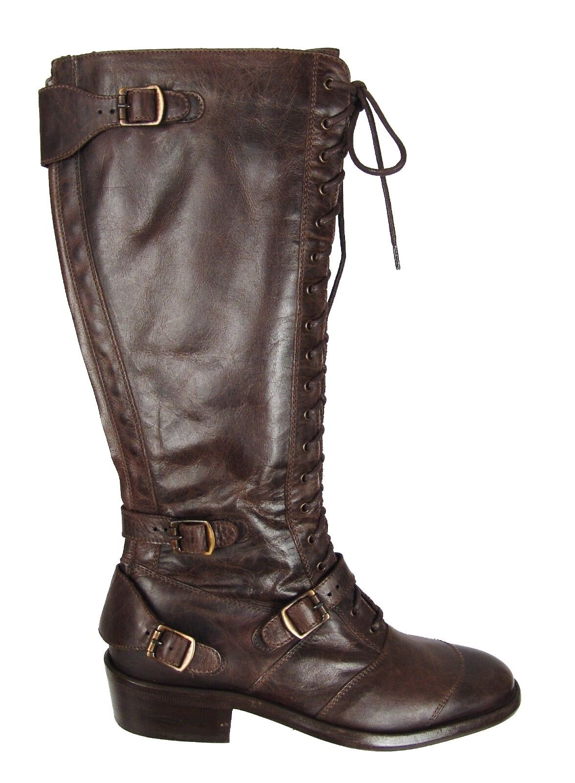 750.00 Belstaff Blackbrown Leather Lacedmaster Laced Boots shoes EU Size 37