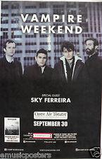VAMPIRE WEEKEND/SKY FERREIRA 2013 SAN DIEGO CONCERT POSTER- Indie Rock/Pop Music