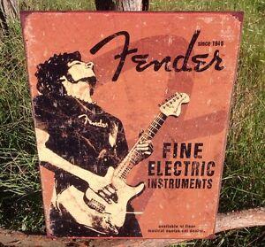 FENDER Fine Electric Guitars Sign Tin Vintage Garage Bar Decor Old Rustic