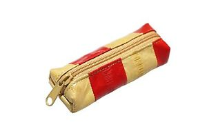 Solid Color Lipstick Stamp Case Genuine Eel Skin Leather Accessories Pouch