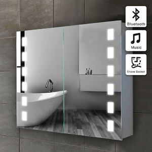 led illuminated bathroom mirror cabinet bluetooth shaver sensor
