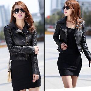 Trendy Ladies Leather Motorcycle Zipper Collar Coat Biker Jacket Outwear