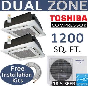 Dual-Ductless-Mini-Split-AC-Heat-Pump-12000x2-Ceiling-Cassettes-with-Linesets