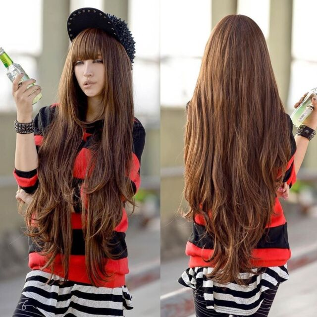 2017 Womens super Long Brown Cosplay Wig Lady's Fibre Hair wigs with Blunt bangs