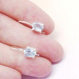 Blautopas-blau-schlicht-oval-Design-Ohrringe-Ohrhaenger-925-Sterling-Silber-neu