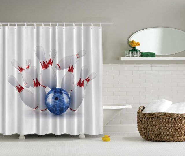 Bowling Game Digital Print Shower Curtain Pins Strike Blue Ball Sport Bath Decor