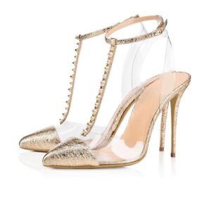 Womens-Ladies-Fashion-Transparent-T-Bar-Ankle-Strap-High-Heel-Sandals-Shoes-XUNL