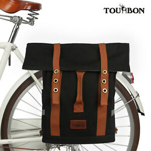 Tourbon Roll Top Backpack Canvas Laptop Backpack Bike Pannier Travel Bag Black