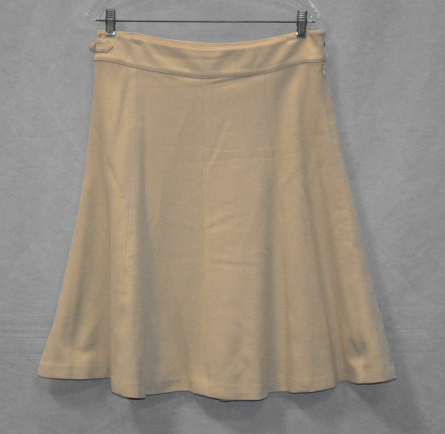 B6 NEW RALPH LAUREN Purple Label Beige Cashmere Wool Blend Flare Skirt Size 10