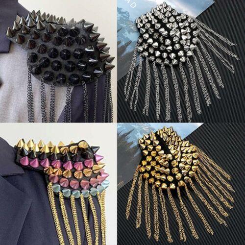 2Pcs Vintage Rivet Tassel Link Chain Epaulet Board Badge Shoulder Brooch Pin Kit