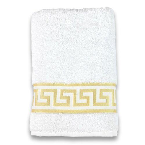 Mäander Handtücher 100/% Baumwolle Gäste-Badetuch Medusa Weiß-Gold Towel versac