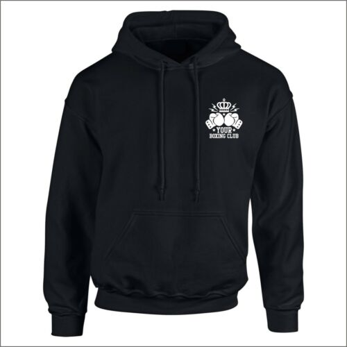 PERSONALISED CLUB OR NAME ALL ADULT SIZES FROM SMALL TO 2XL BOXING HOODY