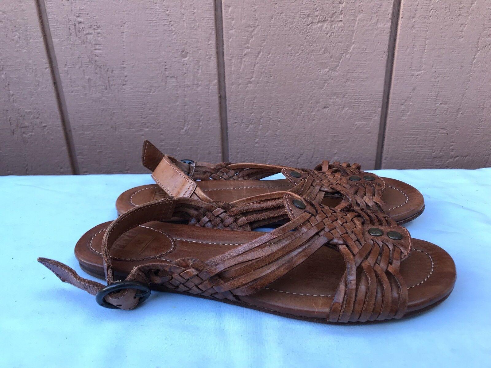 negozio online RARE RARE RARE EUC FRYE Slingback Sandal Dimensione US 8B Donna  Marrone Woven Leather scarpe A7  forma unica