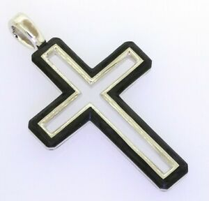 David-Yurman-NEW-Sterling-silver-forged-carbon-cross-crucifix-pendant