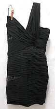 Robert Rodriguez One Shoulder Form-Fitting Black Cocktail Dress Jet Accents 4