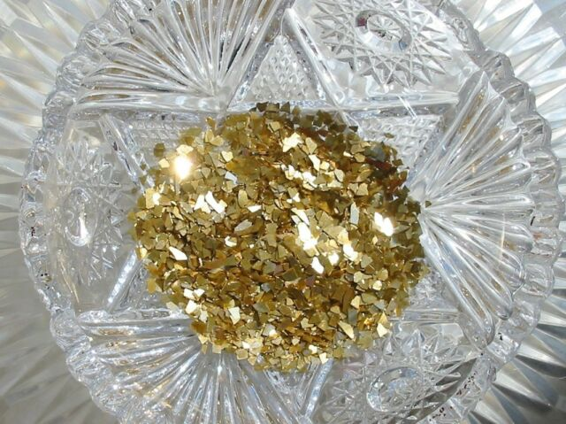 German Glass Glitter Coarse Antique Gold Shards 40 Grit 1 Ounce