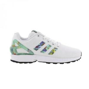 official photos ce0cb 6a06f Image is loading Girls-Juniors-ADIDAS-ZX-FLUX-J-White-Trainers-