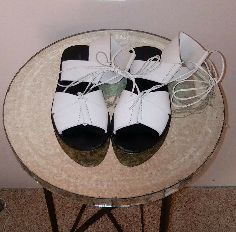 COOL SOLD OUT 'MARLENE' WEISS LEATEHR SANDALS BY ALEXANDER WANG sz 35