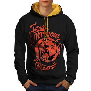 Kleidung & Accessoires Gutherzig Enormous Grizzly Animal Men Contrast Hoodie New Wellcoda Kleidung & Accessoires