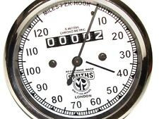 DR@BID 0-120 M/H Early Matchless Smiths Replica White Face Speedometer