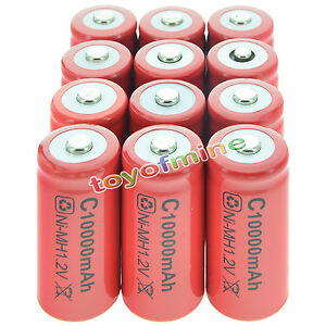 12x C size 1.2V 10000mAh Ni-MH Red Color Rechargeable Battery USA