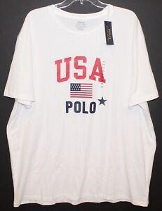 Polo-Ralph-Lauren-Big-and-Tall-Mens-White-USA-Crewneck-T-Shirt-NWT-Size-1XB