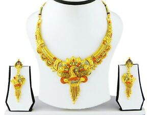 Ethnic-Indian-Bollywood-Gold-Plated-Necklace-Earrings-Set-Traditional-Jewelry-A7