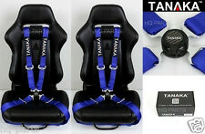 X 2 TANAKA UNIVERSAL BLUE 4 POINT CAMLOCK QUICK RELEASE RACING SEAT BELT HARNESS