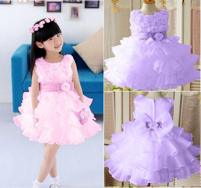 New Kids Girls Toddler 3D Flower Tutu Layered Princess Party Formal Dress