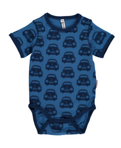 * Nouveau * Maxomorra Scandi-voiture Bleue Corps-vert. Taille 74/9 Mois.-afficher Le Titre D'origine