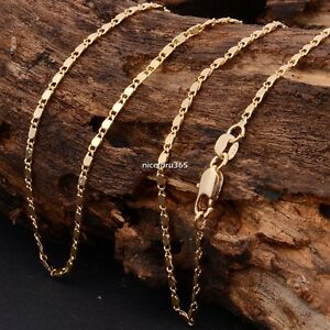 NEW-Fashion-22Inch-Yellow-Gold-Filled-Men-Women-Jewellery-Necklace-Chain