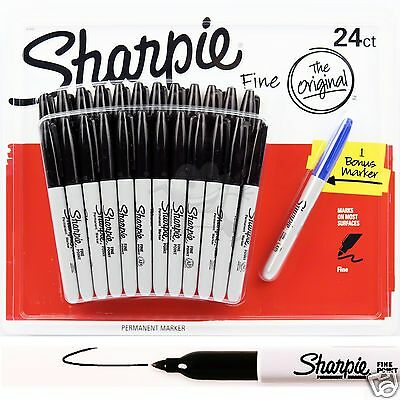 24 SHARPIE Markers Black Permanent Sharpies Marker Pen Bulk Texta Fine Point New