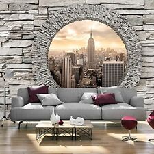 3D-DESIGN-TAPETE VLIES -- NEW YORK FENSTER STEIN -- GRÖSSE 350 x 245 cm -- NEU