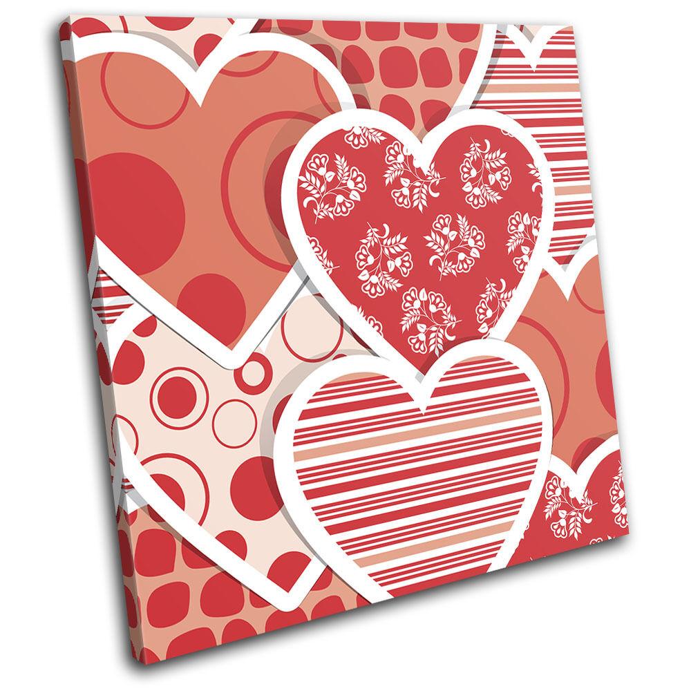 Hearts  Pattern Love SINGLE TELA parete arte foto stampa stampa stampa 6c92e6