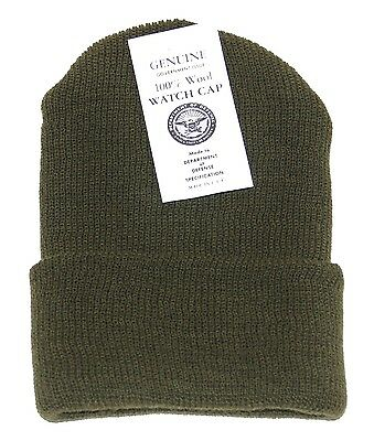 New Genuine Government Issue 100% Wool Beanie Watch Cap for Hunting, Camping