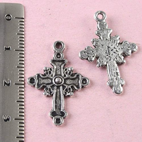 20pcs Tibetan silver cross charm findings h1625