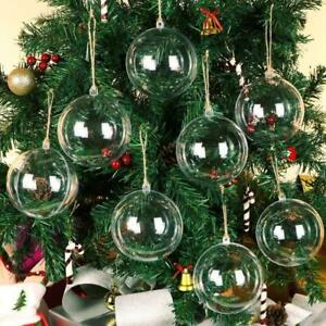 10PCS Clear Plastic Christmas Balls Baubles Sphere Fillable Xmas Tree Ornament