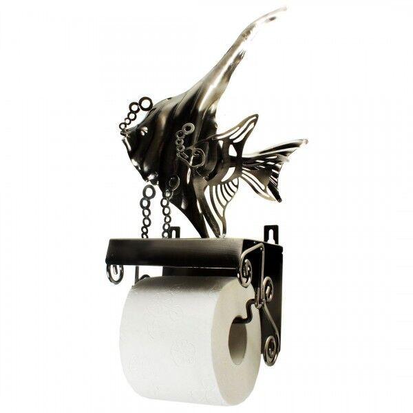 Porta carta igienica pesce in metallo per appendere supporto supporto supporto WC f28ad2