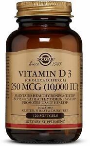 Vitamin D3 (Cholecalciferol) by Solgar, 120 softgels 10,000 IU