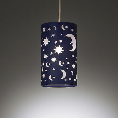 Moon And Stars Ceiling Light Shade, White Childrens Lampshade