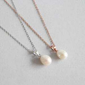 Classic-Genuine-s925-Sterling-Silver-Natural-Freshwater-Pearl-Pendant-Necklaces