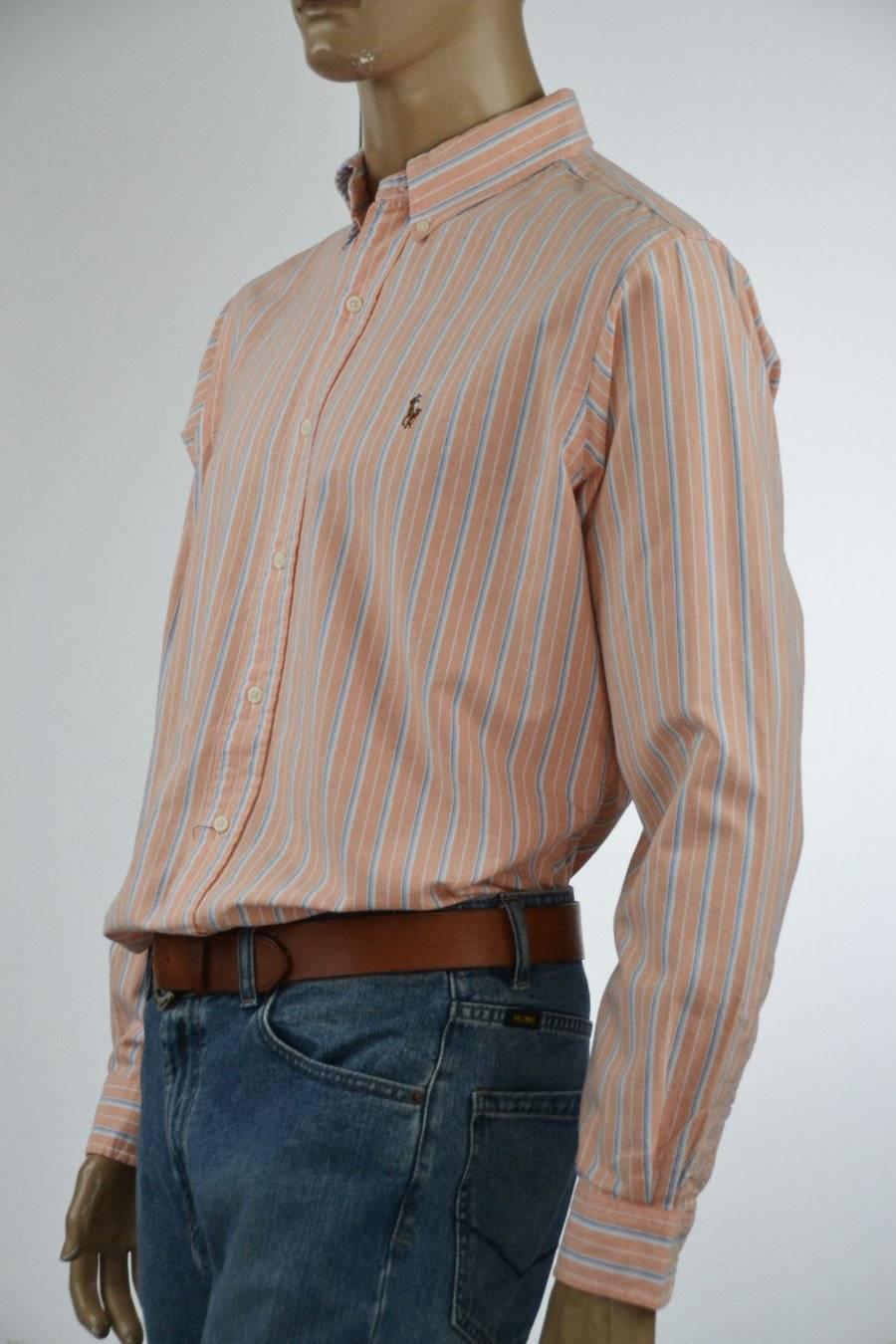 Ralph Lauren Classic Fit Oxford Cotton Peach Stripe Stripe Peach Long Sleeve Shirt/ -Large 1d6d12