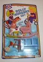 Vtg 1984 Toy Doll Furniture Set Dolly Nursery Plastic Crib A-ok Baby Arkin Aok