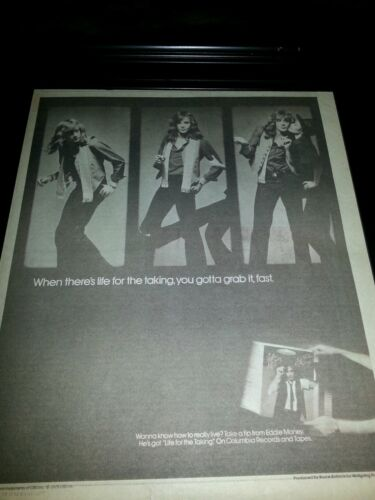 Eddie Money Life For The Taking Rare Original Promo Poster Ad Framed!
