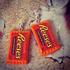 Unique REESES EARRINGS handmade COOL dangly PEANUT BUTTER CUPS mixed up dolly - England, United Kingdom - Unique REESES EARRINGS handmade COOL dangly PEANUT BUTTER CUPS mixed up dolly - England, United Kingdom