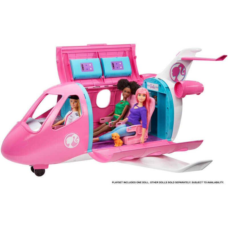 Barbie GJB33 Dreamplane Playset with Blonde Pilot Doll & 15+ Accessories