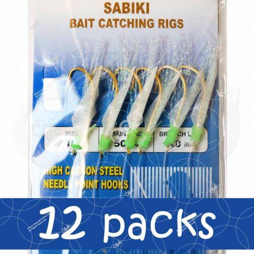 12packs Size 1//0 Fishing Piscatore Sabiki Gold 6Hooks Rig Baits Fish Lures #1//0
