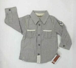 Kanz-Baby-Boy-Shirt-Brown-Sz-12-Months-Striped-Long-Sleeve-Ivory-Button-down-NEW