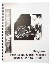 Instructions Amp Parts Manual Snap On Brake Lathe Model Ya 180