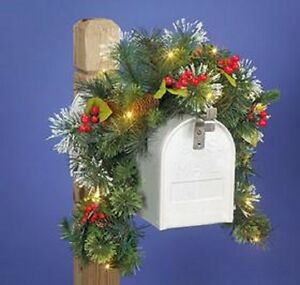 Details About Mailbox Decor Swag Outdoor Christmas Holiday Seasonal Decor Led Pine Lighted New